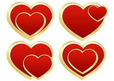 Uppsättning av stylized hjärtor Arkivbild