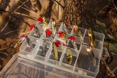 Uppsättning av svängande spinnare i den plast- asken Royaltyfri Fotografi