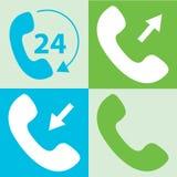 uppsättning av symbolen för telefonmottagare Telefonsymbol Arkivbild