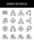 Uppsättning av symboler för affärsledning i den moderna tunna linjen stil Arkivbilder