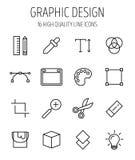 Uppsättning av symboler för grafisk design i den moderna tunna linjen stil Arkivfoton