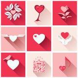 Uppsättning av symboler för romantiska händelser Arkivbilder