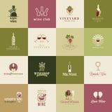Uppsättning av symboler för vin Arkivfoto