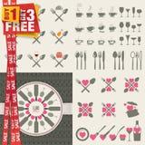 Uppsättning av symboler och beståndsdelar för restauranger, mat Arkivfoto