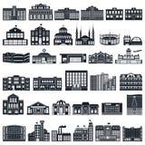 Uppsättning av symbolsbyggnader Vektorserie, lägenhet Arkivbilder