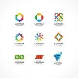 Uppsättning av symbolsdesignbeståndsdelar Abstrakta logoidéer för affärsföretag Internet kommunikation, teknologi som är geometri Arkivbild