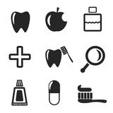 Uppsättning av tand- rengöringsduk och mobila symboler vektor Royaltyfri Foto