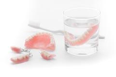 Uppsättning av tandprotesen i exponeringsglas av vatten på vit bakgrund Royaltyfri Fotografi