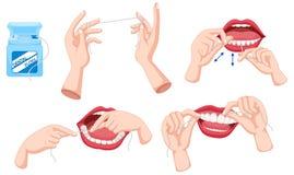 Uppsättning av tandtråd och hur man använder Royaltyfri Foto