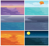 Uppsättning av Tid av det himmelhavet och havet Arkivbilder