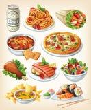 Uppsättning av traditionell mat Arkivbild