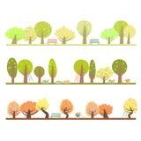 Uppsättning av tre säsonger i trädgården Arkivbild