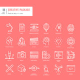 Uppsättning av tunna linjer rengöringsduksymboler för diagram och rengöringsdukdesign Fotografering för Bildbyråer