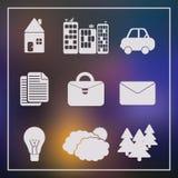 Uppsättning av 9 universella moderna symboler för rengöringsduk och mobil Arkivbilder