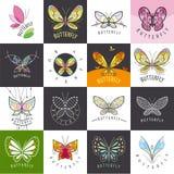 Uppsättning av vektorlogofjärilar Arkivfoton