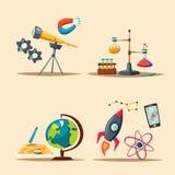 Uppsättning av vetenskapslogoen den främmande tecknad filmkatten flyr illustrationtakvektorn rad av böcker Fotografering för Bildbyråer