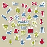 Uppsättning av vintersymbolsklistermärkear Royaltyfria Foton