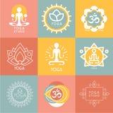 Uppsättning av yoga- och meditationsymboler Fotografering för Bildbyråer