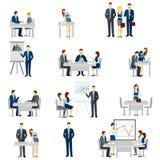 Uppsättning för affärscoachningsymboler Arkivbilder