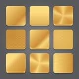 Uppsättning för App-symbolsbakgrund Guld- metallknappsymboler Royaltyfri Foto