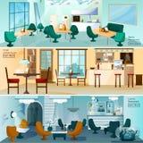 Uppsättning för baner för lägenhet för kaférestauranginre Royaltyfria Bilder