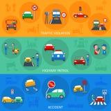 Uppsättning för baner för trafikkränkning Arkivbilder