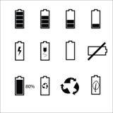 Uppsättning för batteristatussymboler Fotografering för Bildbyråer