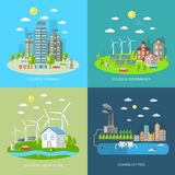 Uppsättning för begrepp för Eco stadsdesign Royaltyfria Foton