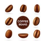 Uppsättning för begrepp för kaffebönor Royaltyfria Foton