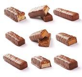 Uppsättning för chokladstång med den snabba banan Arkivfoto