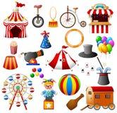 Uppsättning för cirkusutrustningsamling Arkivbild