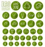 Uppsättning för Eco symbolsknapp Arkivfoton