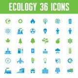 Uppsättning för ekologivektorsymboler - idérik illustration på energitema Royaltyfri Foto