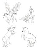 Uppsättning för fantasihästsamling i svartvit teckning Arkivbilder