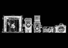 Uppsättning för fotokameraevolution Arkivfoto