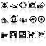 Uppsättning för fotovektorsymboler. EPS 10. Royaltyfria Foton