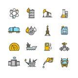 Uppsättning för färg för oljeindustriöversiktssymbol vektor Royaltyfri Foto