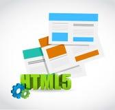 Uppsättning för Html 5 av webbläsareillustrationen Arkivbild