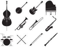 Uppsättning för jazzmusikinstrument Arkivfoton