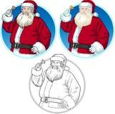 Uppsättning för julteckenSanta Claus tecknade filmer Arkivfoto