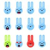 Uppsättning för kaninleendeemoji Vektor för stil för Emoticonsymbolslägenhet Arkivfoto