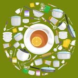 Uppsättning för Kitchenwaresymbolsvektor Platta för slev för spatel för panna för kopp för gaffel för kniv för mat för kruka för  Royaltyfri Foto