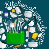 Uppsättning för Kitchenwaresymbolsvektor Platta för slev för spatel för panna för kopp för gaffel för kniv för mat för kruka för  Royaltyfri Fotografi