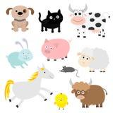 Uppsättning för lantgårddjur Hunden katten, kon, kanin, svinet, skeppet, musen, häst, chiken, tjuren behandla som ett barn text f Arkivfoton