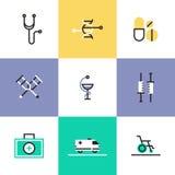 Uppsättning för läkarundersökning- och sjukvårdpictogramsymboler Royaltyfria Bilder