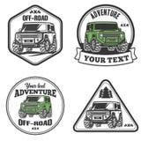 Uppsättning för mall för logo för lastbil för trofé för bilav-väg 4x4 suv Royaltyfria Bilder