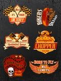 Uppsättning för motorcykelcykelemblem Royaltyfria Bilder