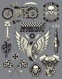Uppsättning för motorcykelvektorbeståndsdelar Arkivfoto