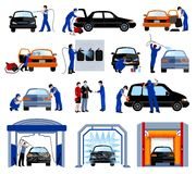 Uppsättning för Pictograms för tjänste- lägenhet för biltvätt Royaltyfria Foton