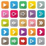 Uppsättning för pilteckensymbol. 25 plana knappar för rengöringsduk. Royaltyfri Bild
